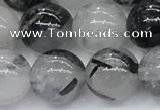 CRU956 15.5 inches 10mm round black rutilated quartz beads