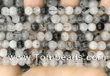 CRU961 15.5 inches 6mm round black rutilated quartz beads