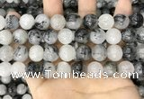 CRU964 15.5 inches 12mm round black rutilated quartz beads