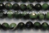 CRZ106 15.5 inches 8mm faceted round ruby zoisite gemstone beads