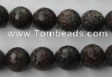 CRZ204 15.5 inches 12mm faceted round ruby zoisite gemstone beads
