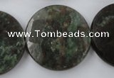 CRZ219 15.5 inches 30mm faceted coin ruby zoisite gemstone beads