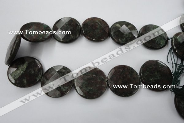 CRZ220 15.5 inches 35mm faceted coin ruby zoisite gemstone beads