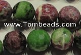 CRZ359 15.5 inches 15mm faceted round natural ruby zoisite beads