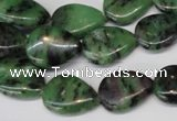 CRZ40 15.5 inches 13*18mm flat teardrop ruby zoisite gemstone beads