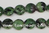 CRZ470 15.5 inches 12mm flat round ruby zoisite gemstone beads
