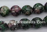 CRZ552 15.5 inches 13mm faceted round Chinese ruby zoisite beads