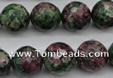 CRZ553 15.5 inches 15mm faceted round Chinese ruby zoisite beads