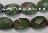 CRZ643 15.5 inches 13*18mm facetec oval New ruby zoisite gemstone beads