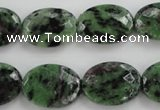 CRZ710 15 inches 15*20mm faceted oval ruby zoisite gemstone beads