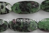 CRZ711 15 inches 15*30mm faceted oval ruby zoisite gemstone beads