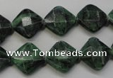 CRZ75 15.5 inches 14*14mm faceted diamond ruby zoisite gemstone beads