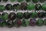 CRZ761 15.5 inches 6mm faceted nuggets ruby zoisite gemstone beads