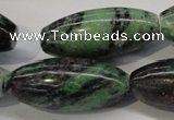 CRZ80 15.5 inches 15*35mm rice ruby zoisite gemstone beads