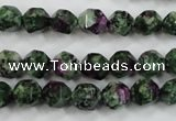 CRZ902 15.5 inches 8mm faceted nuggets Chinese ruby zoisite beads