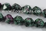 CRZ903 15.5 inches 10mm faceted nuggets Chinese ruby zoisite beads