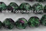 CRZ905 15.5 inches 14mm faceted nuggets Chinese ruby zoisite beads
