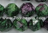 CRZ906 15.5 inches 16mm faceted nuggets Chinese ruby zoisite beads