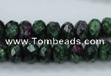 CRZ912 15.5 inches 8*12mm faceted rondelle Chinese ruby zoisite beads