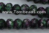 CRZ913 15.5 inches 10*14mm faceted rondelle Chinese ruby zoisite beads