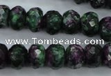 CRZ914 15.5 inches 12*16mm faceted rondelle Chinese ruby zoisite beads