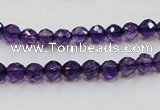 CSA14 15.5 inches 6mm faceted round synthetic amethyst beads