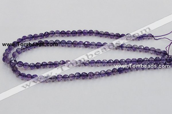 CSA15 15.5 inches 7mm faceted round synthetic amethyst beads