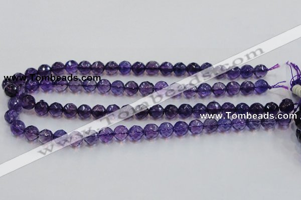 CSA17 15.5 inches 10mm faceted round synthetic amethyst beads