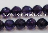 CSA18 15.5 inches 12mm faceted round synthetic amethyst beads