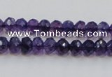 CSA20 15.5 inches 6*8mm faceted rondelle synthetic amethyst beads