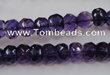 CSA21 15.5 inches 6*10mm faceted rondelle synthetic amethyst beads