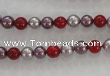 CSB1017 15.5 inches 6mm round mixed color shell pearl beads