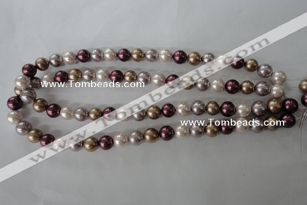 CSB1059 15.5 inches 10mm round mixed color shell pearl beads