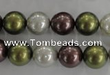 CSB1089 15.5 inches 12mm round mixed color shell pearl beads