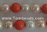 CSB1096 15.5 inches 12mm round mixed color shell pearl beads
