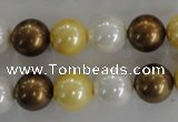 CSB1099 15.5 inches 12mm round mixed color shell pearl beads