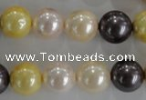 CSB1101 15.5 inches 12mm round mixed color shell pearl beads