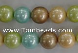 CSB1103 15.5 inches 12mm round mixed color shell pearl beads