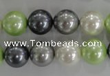 CSB1105 15.5 inches 12mm round mixed color shell pearl beads