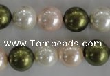 CSB1109 15.5 inches 12mm round mixed color shell pearl beads
