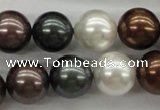 CSB1127 15.5 inches 14mm round mixed color shell pearl beads