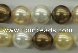 CSB1131 15.5 inches 14mm round mixed color shell pearl beads