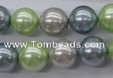 CSB1135 15.5 inches 14mm round mixed color shell pearl beads