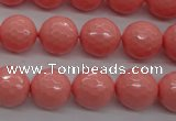 CSB1179 15.5 inches 12mm faceted round shell pearl beads