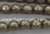 CSB1192 15.5 inches 12mm faceted round shell pearl beads