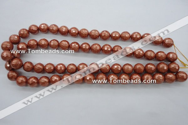 CSB1196 15.5 inches 12mm faceted round shell pearl beads