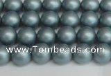 CSB1435 15.5 inches 4mm matte round shell pearl beads wholesale