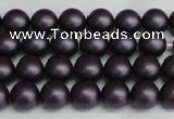 CSB1445 15.5 inches 4mm matte round shell pearl beads wholesale