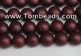 CSB1450 15.5 inches 4mm matte round shell pearl beads wholesale