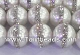 CSB1503 15.5 inches 12mm round shell pearl with rhinestone beads